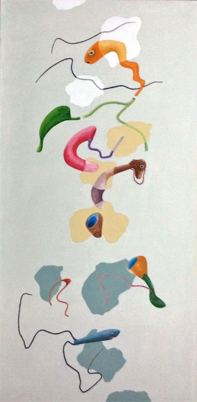 """Etereo"" acrilici su tela, cm 80x40, 2017"