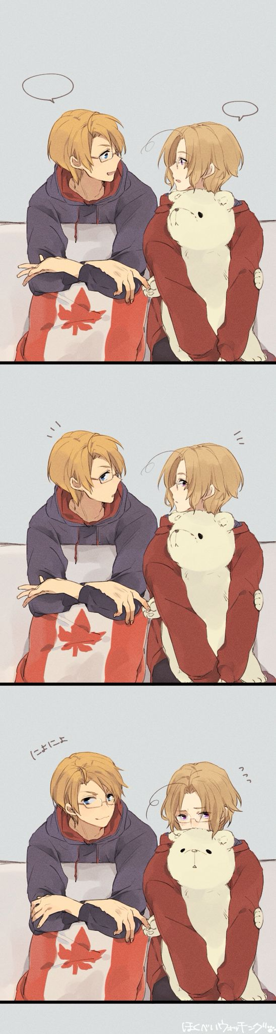"Hetalia | All I can imagine is the viewer poking their head into the room where they're talking, and Al is like, ""Oh hey _____!"" while Mattie just sits quietly because he's shy."