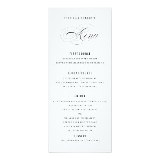 62 best WEDDING MENU CARDS images on Pinterest Wedding menu - formal dinner menu template