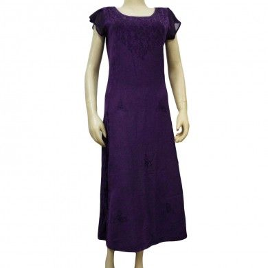 Purple Rayon Dress Embroidered Short Sleeves Tunic Free Shipping Sz M India
