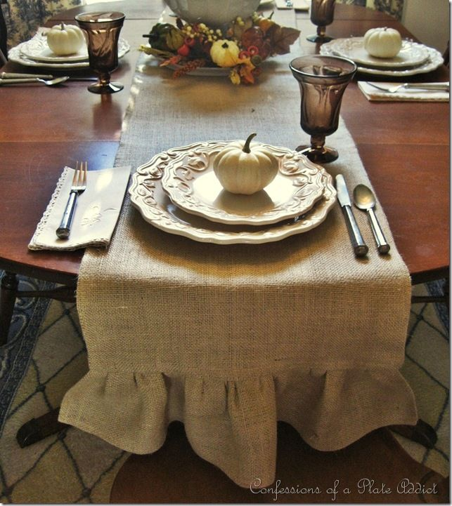CONFESSIONS OF A PLATE ADDICT: Make Your Own Ruffled Burlap Table Runner