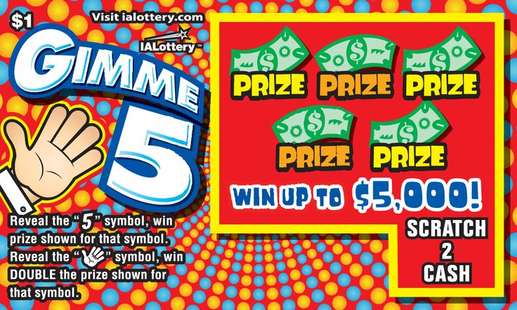 Gimme 5 launched at Iowa Lottery retailers April 3, 2017. The $1 game offers top prizes of $5,000!