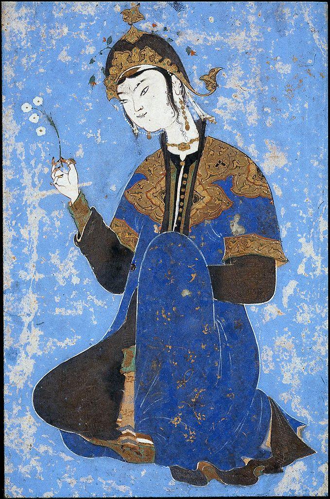 شاهزاده خانم با یک شاخه گل، سده ۱۶ ترسایی، گواش، آبرنگ و طلا بر روی کاغذ، ۲۲ × ۱۲.۵ سانتی متر، موزه هنرهای زیبای بوستون Kneeling Woman 16th century Object Place: Iran DIMENSIONS Height x width: 22 x 12.5 cm MEDIUM OR TECHNIQUE Paper; painting Museum of Fine Arts, Boston