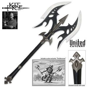 Black Legion Battle Axe for sale is an officially licensed Kit Rae collectible. The Black Legion Battle Axe is a huge 35 inches. From the Swords of the Ancients Collection, these fantasy battle axes are crafted of stainless steel and have 15 inches blades. The handle is made of solid metal with an antique finish. These axes feature an authentic leather covered shaft. Buy the officially licensed Kit Rae Black Legion Axe which features an art print and a Certificate of Authenticity.