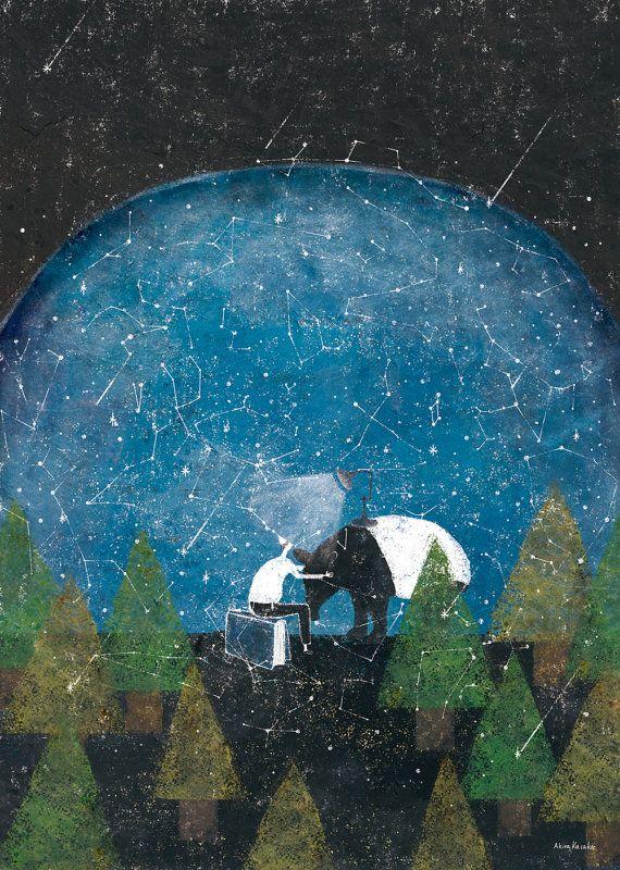 "Akira Kusaka Original Giclee print ""title : Night"""