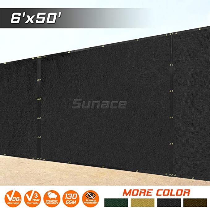 ColourTree 2nd Generation 6/' x 50/' Black Fence Privacy Screen Windscreen Cover