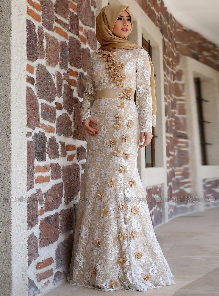 Evening Dress - Gold Ecru - Zahra by