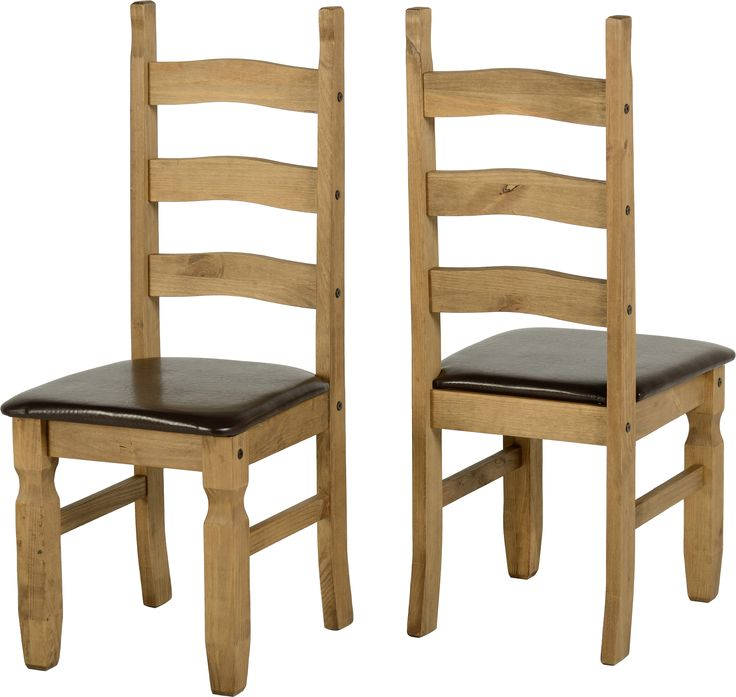 sales@spt-furniture.com Corona Chair (PAIR) Distressed Waxed Pine/Expresso Brown PU Assembled Sizes(MM) 425 x 470 x 1070   Extra Information SEAT PAD SIZE W425 D445 SEAT PAD HEIGHT H455 BACKREST HEIGHT H615
