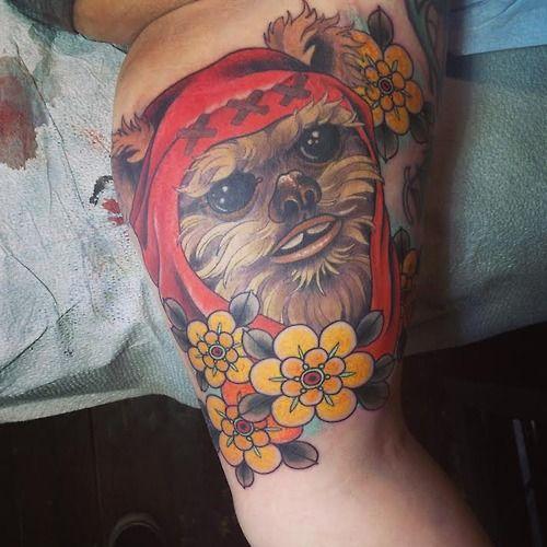 My Ewok! Done by Ryan Mason at Scapegoat Tattoo in Portland...