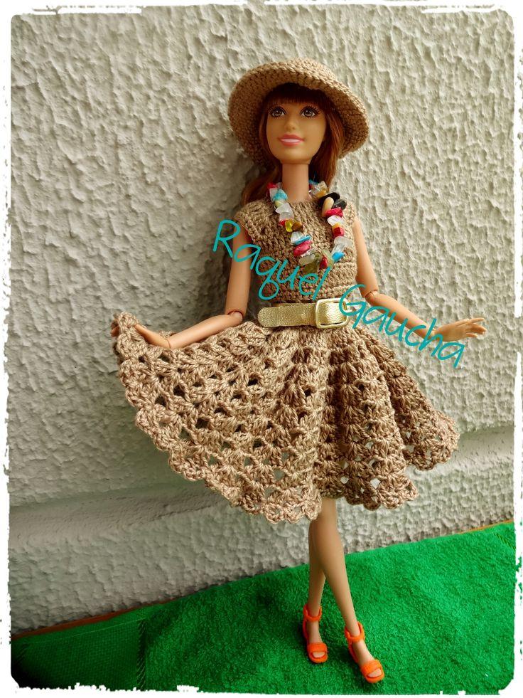 #Cléa5 #Barbie #Crochet #Doll Muñeca #Vestido #Dress #Chapéu  #Hat #RaquelGaucha