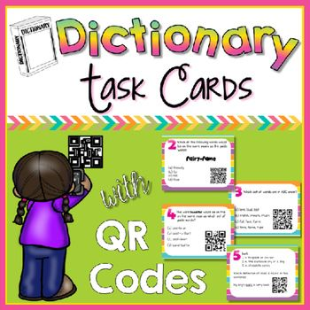 This is a set of 18 self-checking QR code task cards all about dictionary skills.The dictionary skills include:-entry words-guide words-different definitions-parts of speech-syllablesA recording sheet is included!Download a FREE QR scanner app to any SMART device and have your students solve and then scan the QR code for the answer.