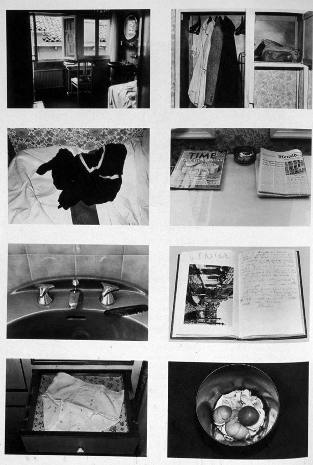 In 1981, Sophie Calle did something I think about every time I go to a hotel: she took up a job as a housekeeper at a hotel and spied on the guests. She took photos of the beds and closests and trash cans, read the letters and papers she found, and took notes on what she saw. These documents were then published as Ecrit sur l'image. L'Hotel. The Hotel piques the viewer's own curiosities or offenses by inviting the viewer in on someone else's privacy. It is a betrayal – betraying the trust…