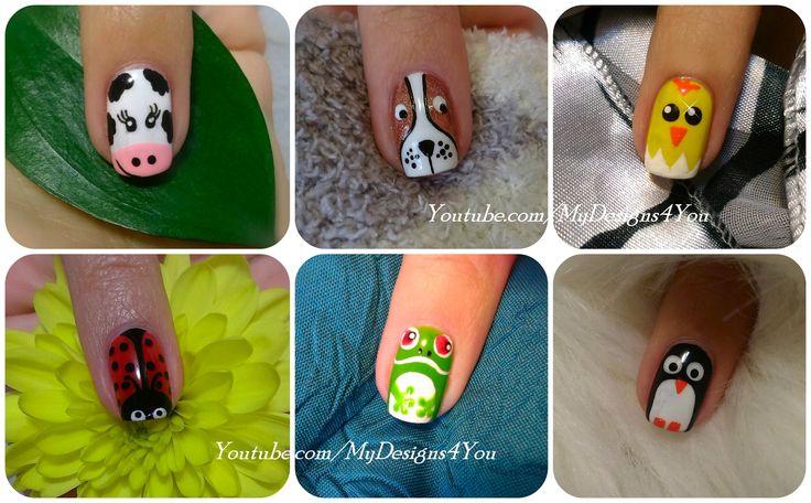 Animal Nail Art Vol.1 | Diseño de Uñas, Animales ♥ Дизайн Ногтей - Животные #nailart #animalnails #nails #mydesigns4you #easternails #puppynails #chicknails #penguinnails #cownails #ladybugnails #frognails