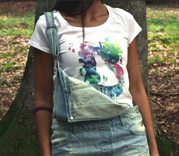Wolf & Watercolor t-shirt di ClanWeAreClothing su Etsy