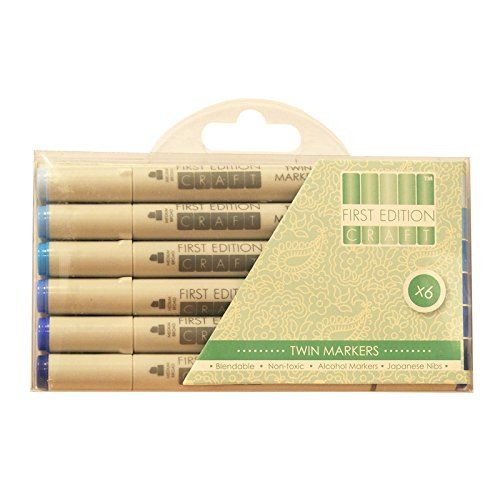 First Edition Twin Tip Marker Alcohol Longlife Craft Pens 6pk Set - Blues First Edition http://www.amazon.co.uk/dp/B00Z2WV6ZE/ref=cm_sw_r_pi_dp_k.1Awb0FQZCFH