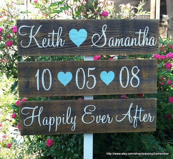 "Set of 3 CUSTOM WEDDING Signs with Names, Date, Happily Ever After / Use these signs FOREVER / 37"" Stake on Etsy, $69.95"