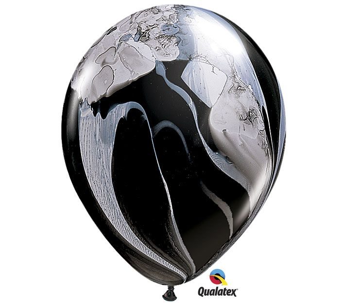 Recreate the stunning Black & White Wedding Decor with these Black & White SuperAgate® latex balloons! #burtonandburton #balloons #wedding #superagate @qualatex