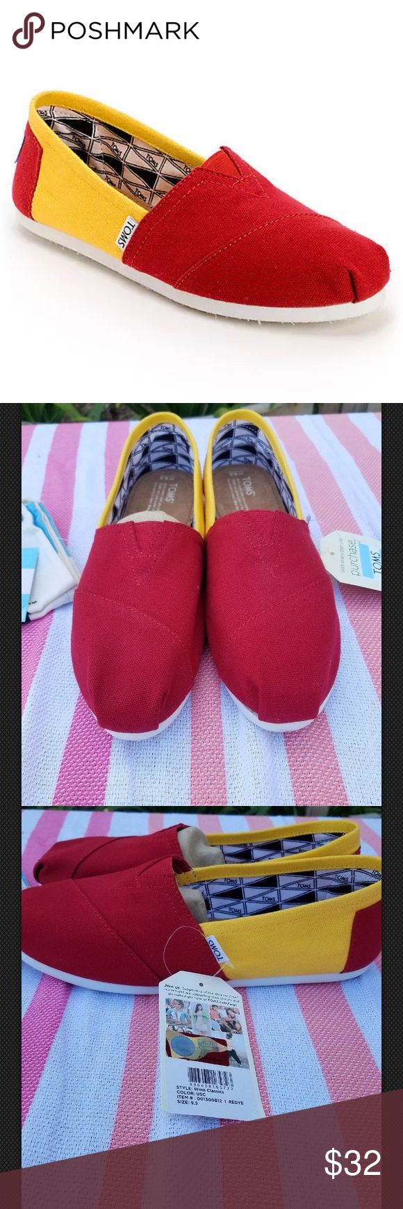 "Toms Women's Campus Classics USC Slip ons shoes Toms Women's Campus Classics USC Slip ons shoes      Color yellow/red  Size 9.5    NEW WITH OUT BOX.  Store display models. With out box, dust bag included. See all photos.     width 3 1/2"" sole length 10 1/2"" insole length 10 1/2""    	•	Toms Classics girls slip on shoes. 	•	University of Southern California colorway. 	•	Cardinal and gold upper. 	•	Lightweight canvas construction. 	•	Elastic V on top for easy in and out. 	•	Suede footbed for…"