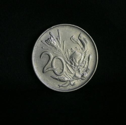 1977 South Africa 20 Cents World Coin KM86 Protea Flower Wildebeest Springbok | eBay