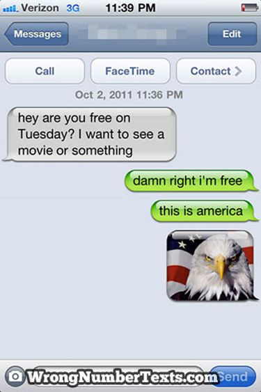 ahh..wrong number texts :DFunny Texts,  Internet Site,  Website, America, I M Free, Numbers Texts, Web Site, Funny Stuff, Wrong Numbers