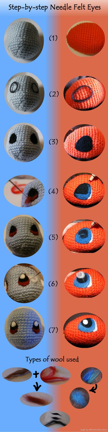TIPS FOR EYES / OEIL, YEUX / OOG - POKEMON - step-by-step guide on how I needle felted the eyes onto my Squirtle and Charmander. I do not profess to know a lot about felting (I'm a compl...