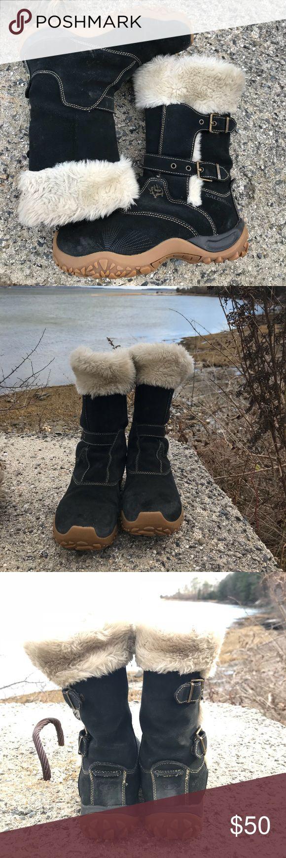 ❄️ Solomon Winter Boots EUC! Suede brown leather, excellent slush soles, furry warm interior, like new!! Salomon Shoes Winter & Rain Boots