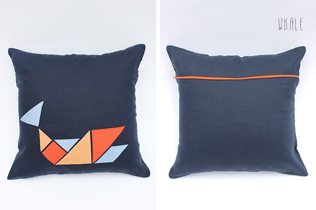 Whale Linen Cushion by PINT SIZE GOODS (The Tangram Tribe Collection)