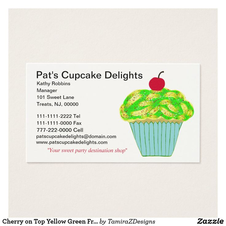 Cherry on Top Yellow Green Frosted Vanilla Cupcake on crisp white custom Business Cards.  Personalize front and back of cards with your information.  Original Graphic Art design by TamiraZDesigns.