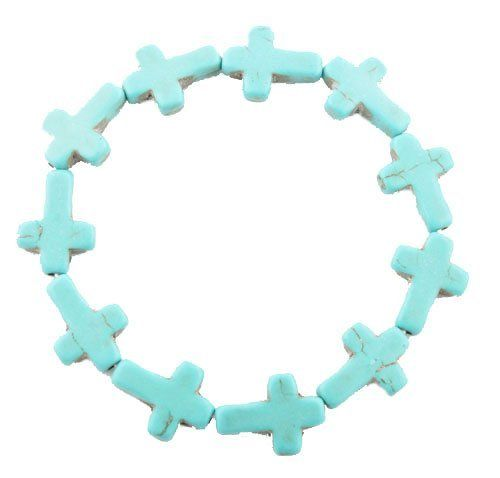 Turquoise Cross Style Shamballah Stretch Bracelet JOTW. $0.95. Light Weight!. 100% Satisfaction Guaranteed!. Great Quality Jewelry!