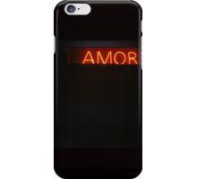 Neon light sign Amor love in Spanish on black medium format film analogue photo iPhone Case/Skin