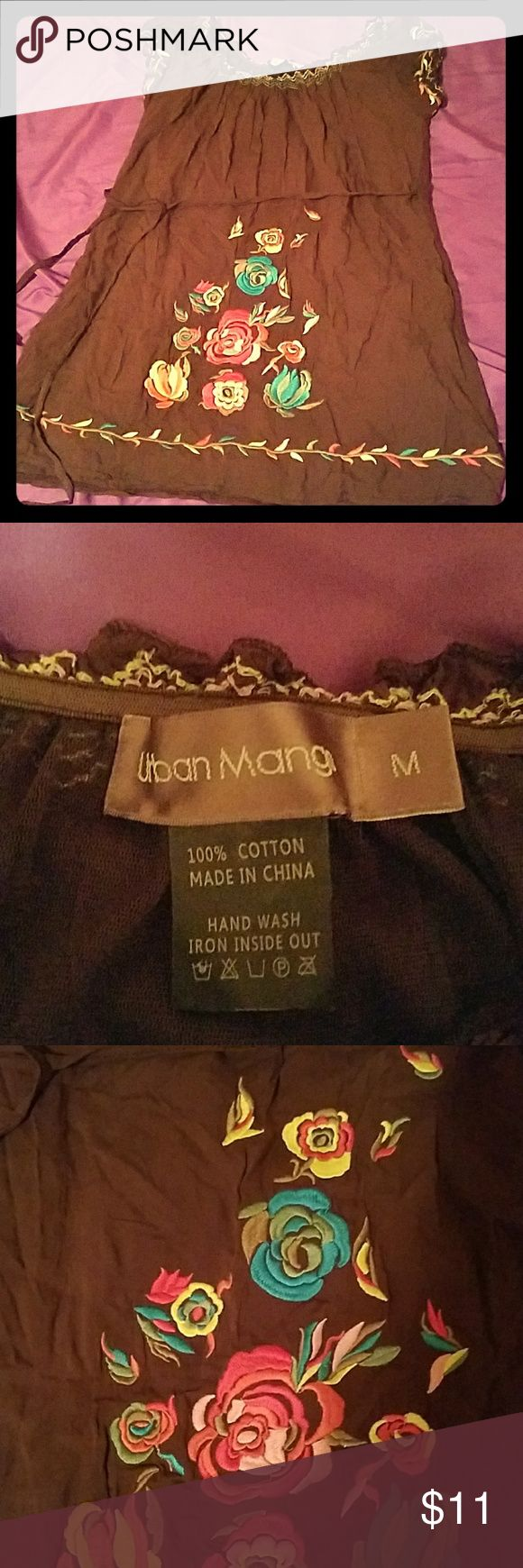 Urban Mango boho mini dress, size M 100% cotton, brown mini dress with pink, blue, yellow & green embroidered flowers, ties at waist, cap sleeves, scoop neck, gently worn Urban Mango  Dresses Mini