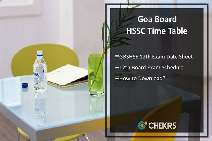 Goa Board HSSC Time Table 2018 GBSHSE 12th Exam Date Sheet
