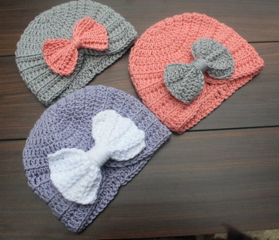 Crocheted Infant Baby Turban with added bow for just a touch of extra cuteness