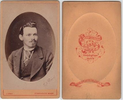 Bearded gentleman, photographed by J.Grey, 60 Union Street, Stonehouse, Devon
