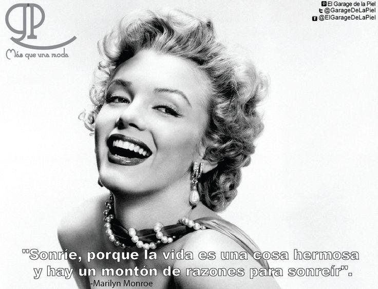 """#Frase del #Día: """"Sonríe, porque la vida es una cosa hermosa y hay un montón de razones para sonreír"""". -Marilyn Monroe El Garage De La Piel"""