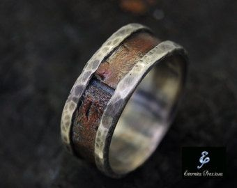 Rustic Copper Mens Ring Mens Engagement Ring by EternitaPreziosa