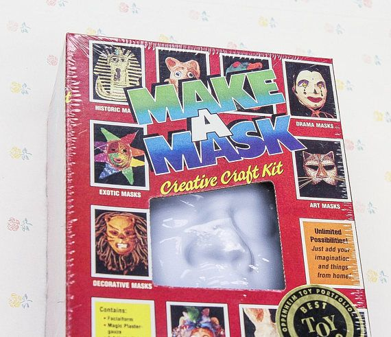 Still sealed in its packaging, a plastic face kit form to make decorative facial masks. From Educational Isights, 1988.  In the box are: Plastergauze - Yards of plaster-filled gauze let you create any mask you dream up! Paint and Brush - Liquid artists paints and brush add color and