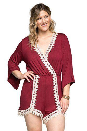 a60c147f22e Hadari Women's Plus Size Sexy Lace Trim Short Romper Jumpsuit Playsuit