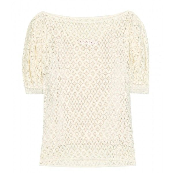 See by Chloé Cotton Lace Top (€185) ❤ liked on Polyvore featuring tops, neutrals, see by chloe top, see by chloé, lacy tops, lace top and lacy white top