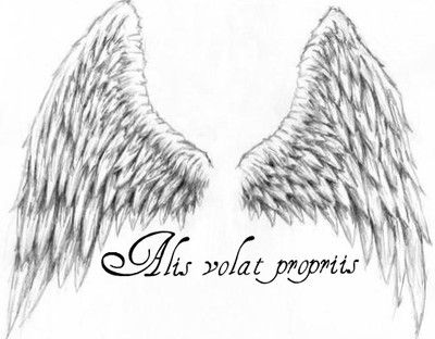 "Alis Volat Propriis tattoo with wings...Latin Meaning for ""She flies with her own wings""..........definitely thinking of getting this tat!"