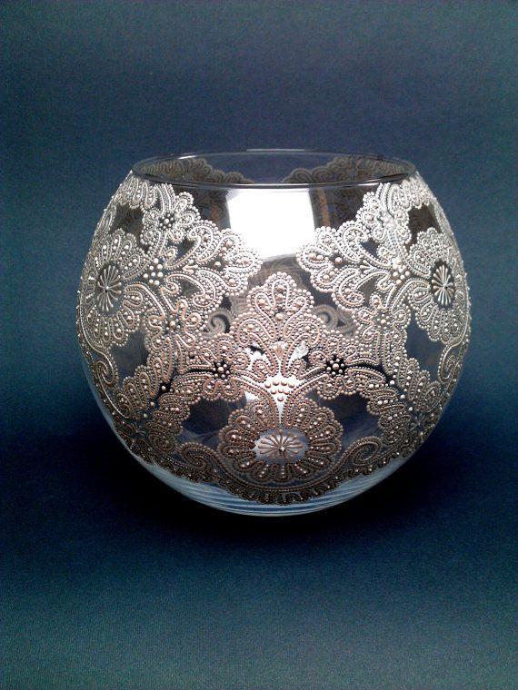 Lace Vase Glass vase Round vase Hand by PaintedglassbySveti