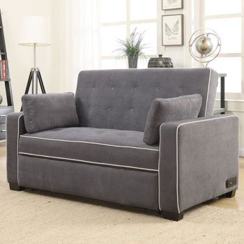 Westport Fabric Convertible Loveseat Charcoal Gray