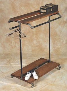 Black Pipe Furniture - clothes caddy, maybe for uniforms and day to day stuff.