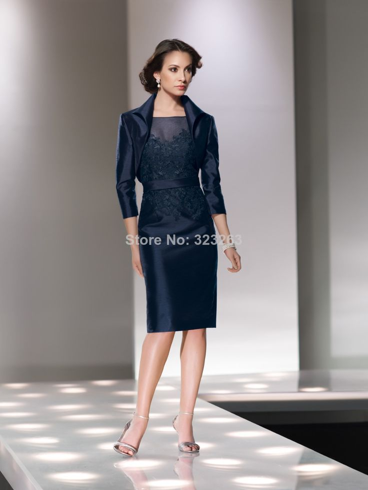 Mother of the Groom Dresses for Fall | Navy Blue Mother of the Groom Dresses with Jacket Sheath Knee Length ...