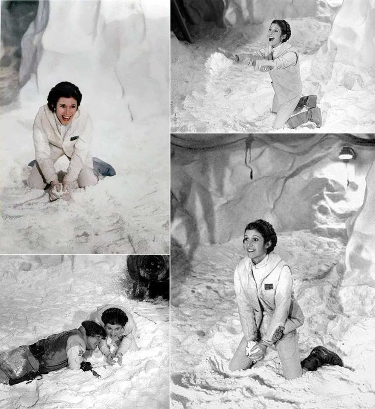 Carrie Fisher and Mark Hamill playing in the snow on Hoth on the set of The Empire Strikes Back