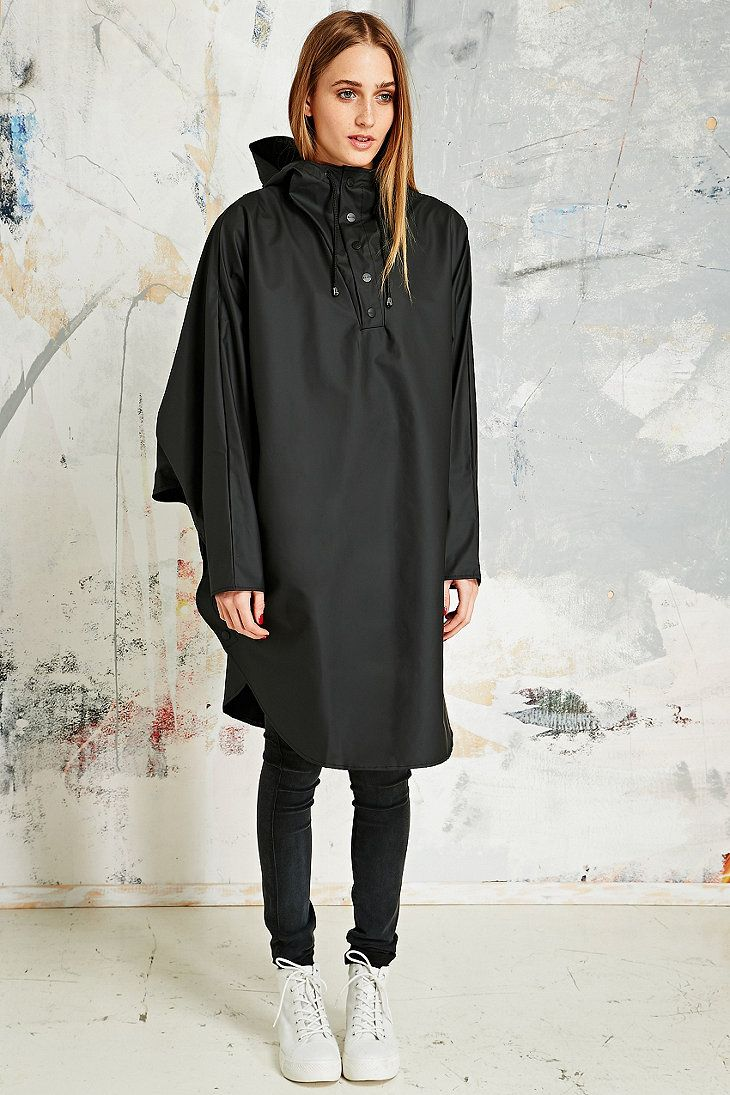 Rains Waterproof Poncho in Black
