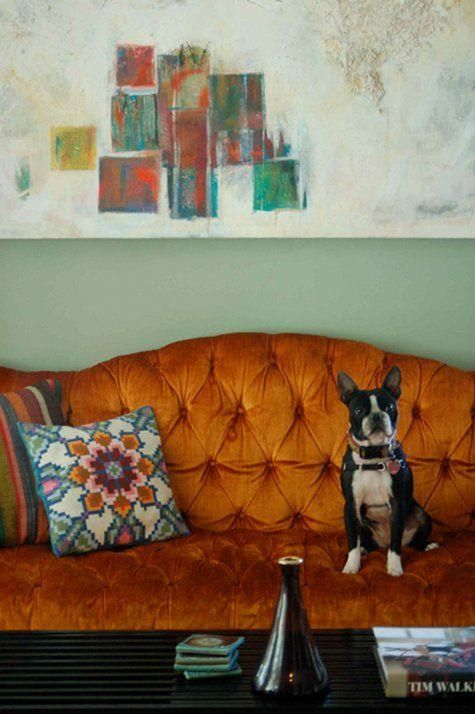 design iq } mix old and new. vintage orange velvet couch + modern painting