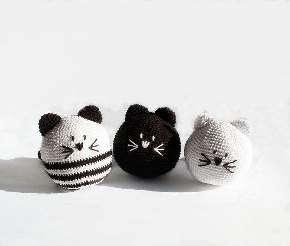Crocheted toy Crocheted kittens in black by DesireKnitAndCrochet, $64.90