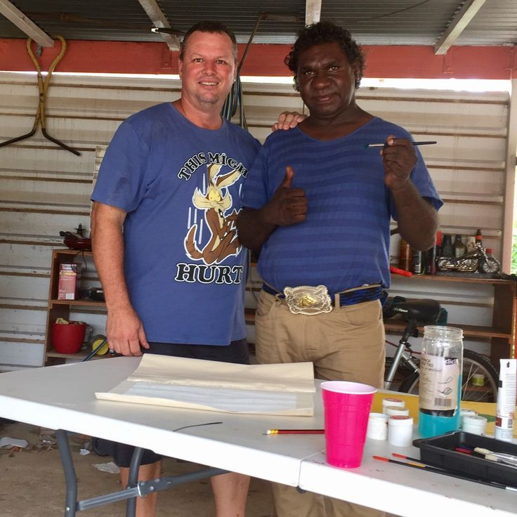 Myself and Stanley Ebatarinja at my place setting up for Stanley to do another amazing painting. Then a BBQ and watch the fireworks here in Alice for New Years.. Happy New Year everyone from the heart of Australia. 😊