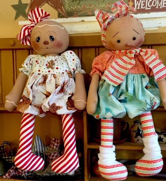 Primitive Folk Art Raggedy Gingerbread Doll And Snow Girl Set Of Two Girl/Girl #NaivePrimitive